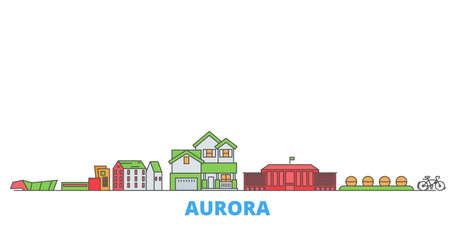 United States, Aurora cityscape line vector. Travel flat city landmark, oultine illustration, line world icons