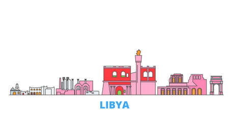 Libya cityscape line vector. Travel flat city landmark, oultine illustration, line world icons