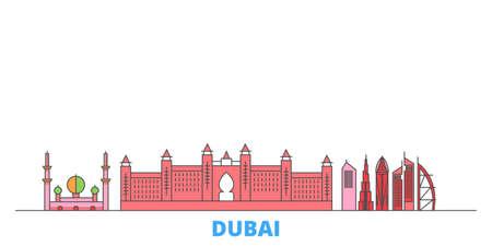 United Arab Emirates, Dubai City cityscape line vector. Travel flat city landmark, oultine illustration, line world icons