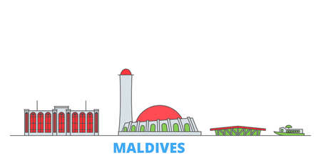Maldives cityscape line vector. Travel flat city landmark, oultine illustration, line world icons