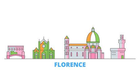 Italy, Florence City cityscape line vector. Travel flat city landmark, oultine illustration, line world icons