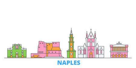 Italy, Naples cityscape line vector. Travel flat city landmark, oultine illustration, line world icons Çizim