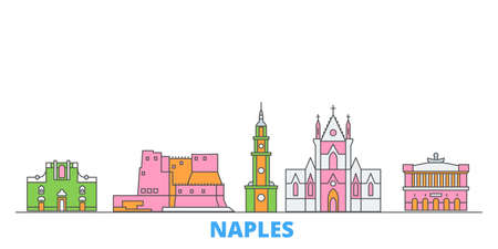 Italy, Naples cityscape line vector. Travel flat city landmark, oultine illustration, line world icons Illustration