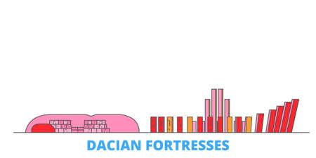 Romania, Dacian Fortresses, Orastie Mountains cityscape line vector. Travel flat city landmark, oultine illustration, line world icons Illustration