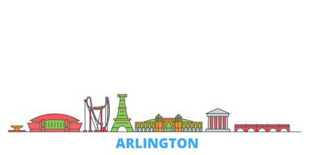 United States, Arlington cityscape line vector. Travel flat city landmark, oultine illustration, line world icons