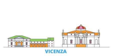 Italy, Vicenza cityscape line vector. Travel flat city landmark, oultine illustration, line world icons