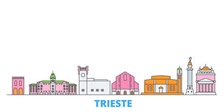 Italy, Trieste cityscape line vector. Travel flat city landmark, oultine illustration, line world icons Иллюстрация