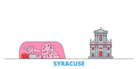 Italy, Syracuse City cityscape line vector. Travel flat city landmark, oultine illustration, line world icons