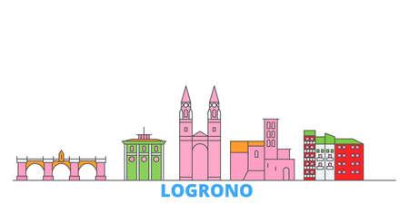 Spain, Logrono cityscape line vector. Travel flat city landmark, oultine illustration, line world icons