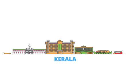 India, Kerala cityscape line vector. Travel flat city landmark, oultine illustration, line world icons