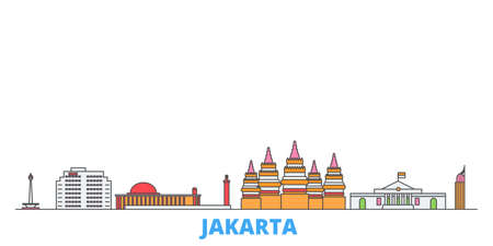 Indonesia, Jakarta cityscape line vector. Travel flat city landmark, oultine illustration, line world icons Çizim