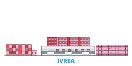 Italy, Ivrea cityscape line vector. Travel flat city landmark, oultine illustration, line world icons