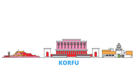 Greece, Korfu cityscape line vector. Travel flat city landmark, oultine illustration, line world icons