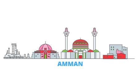 Jordan, Amman cityscape line vector. Travel flat city landmark, oultine illustration, line world icons