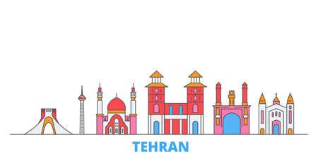 Iran, Tehran cityscape line vector. Travel flat city landmark, oultine illustration, line world icons Illusztráció
