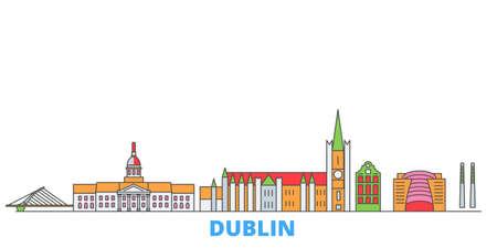 Irland, Dublin cityscape line vector. Travel flat city landmark, oultine illustration, line world icons