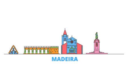 Portugal, Madeira cityscape line vector. Travel flat city landmark, oultine illustration, line world icons Illustration