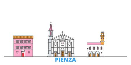Italy, Pienza cityscape line vector. Travel flat city landmark, oultine illustration, line world icons