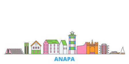 Russia, Anapa cityscape line vector. Travel flat city landmark, oultine illustration, line world icons Иллюстрация