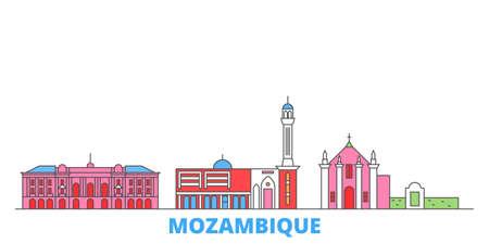 Mozambique cityscape line vector. Travel flat city landmark, oultine illustration, line world icons