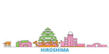 Japan, Hiroshima cityscape line vector. Travel flat city landmark, oultine illustration, line world icons