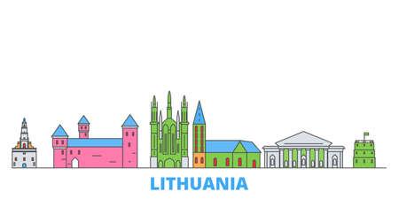 Lithuania cityscape line vector. Travel flat city landmark, oultine illustration, line world icons