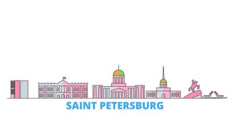 Russia, Saint Petersburg City cityscape line vector. Travel flat city landmark, oultine illustration, line world icons 일러스트