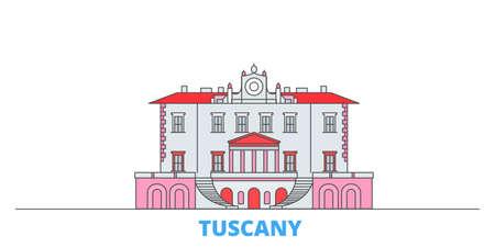 Italy, Tuscany, Medici Villas And Gardens cityscape line vector. Travel flat city landmark, oultine illustration, line world icons Vecteurs