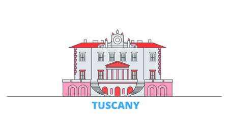 Italy, Tuscany, Medici Villas And Gardens cityscape line vector. Travel flat city landmark, oultine illustration, line world icons Illustration