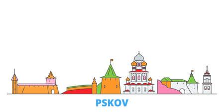 Russia, Pskov cityscape line vector. Travel flat city landmark, oultine illustration, line world icons