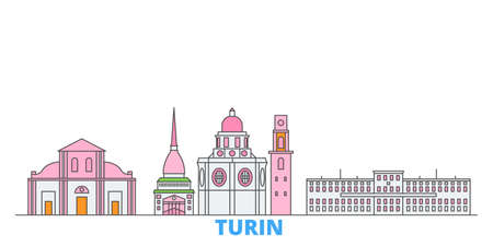 Italy, Turin cityscape line vector. Travel flat city landmark, oultine illustration, line world icons