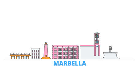 Spain, Marbella cityscape line vector. Travel flat city landmark, oultine illustration, line world icons