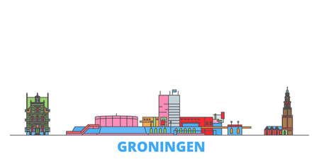 Netherlands, Groningen cityscape line vector. Travel flat city landmark, oultine illustration, line world icons