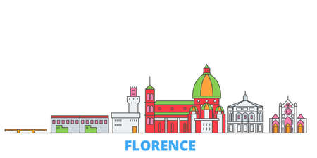 Italy, Florence cityscape line vector. Travel flat city landmark, oultine illustration, line world icons Vettoriali