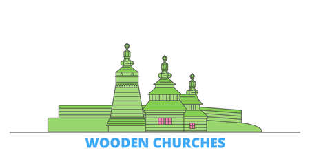 Poland, Wooden Churches In The Carpathian Mountain Area cityscape line vector. Travel flat city landmark, oultine illustration, line world icons