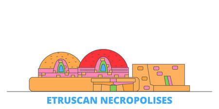 Italy, Cerveteri, Etruscan Necropolises cityscape line vector. Travel flat city landmark, oultine illustration, line world icons