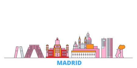 Spain, Madrid City cityscape line vector. Travel flat city landmark, oultine illustration, line world icons