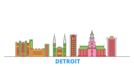 United States, Detroit cityscape line vector. Travel flat city landmark, oultine illustration, line world icons