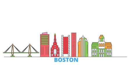 United States, Boston City cityscape line vector. Travel flat city landmark, oultine illustration, line world icons