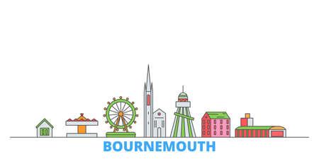 United Kingdom, Bournemouth cityscape line vector. Travel flat city landmark, oultine illustration, line world icons