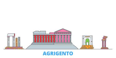 Italy, Agrigento cityscape line vector. Travel flat city landmark, oultine illustration, line world icons