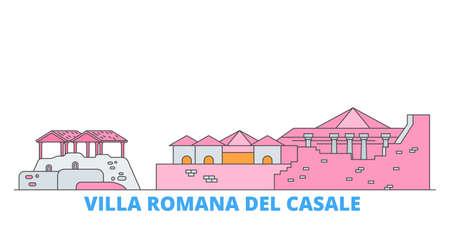 Italy, Villa Romana Del Casale cityscape line vector. Travel flat city landmark, oultine illustration, line world icons