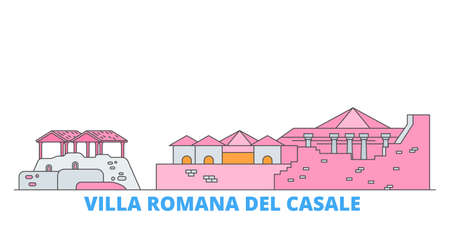 Italy, Villa Romana Del Casale cityscape line vector. Travel flat city landmark, oultine illustration, line world icons Illustration