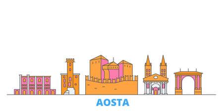 Italy, Aosta cityscape line vector. Travel flat city landmark, oultine illustration, line world icons Illusztráció