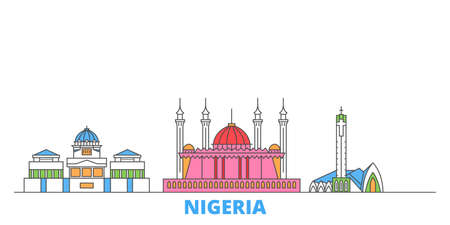 Nigeria cityscape line vector. Travel flat city landmark, oultine illustration, line world icons