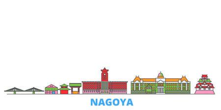 Japan, Nagoya cityscape line vector. Travel flat city landmark, oultine illustration, line world icons Illustration