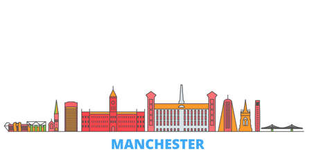 United Kingdom, Manchester cityscape line vector. Travel flat city landmark, oultine illustration, line world icons