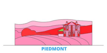 Italy, Piedmont, Langhe Roero And Monferrato cityscape line vector. Travel flat city landmark, oultine illustration, line world icons