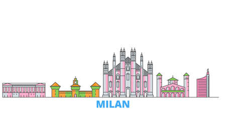 Italy, Milan City cityscape line vector. Travel flat city landmark, oultine illustration, line world icons Vettoriali
