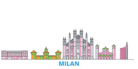 Italy, Milan City cityscape line vector. Travel flat city landmark, oultine illustration, line world icons Vector Illustration